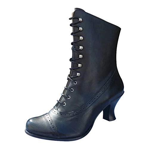 Yying Damen Martin Stiefel Vintage PU-Lederstiefel Retro Gothic Steampunk Kunstleder Stiefel Spitz Zeh Louis-Xv Absatz Motorradstiefel Schnürsenkel Reißverschluss Wadenlange Stiefel