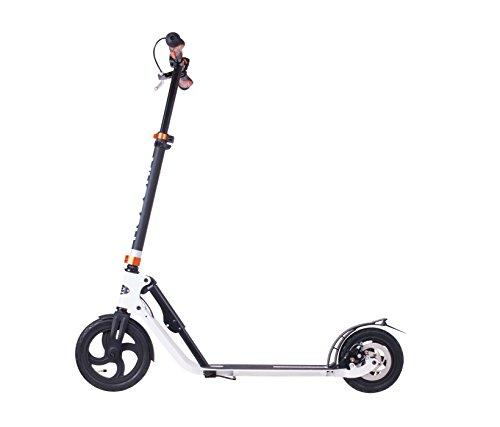 HUDORA Big Wheel Air Dual Brake Luftreifen-Scooter 230 mm, Handbremse Tret-Roller, City Scooter, 14035