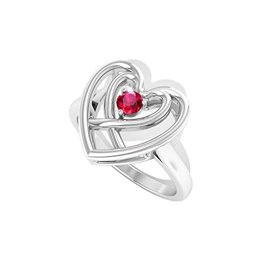 Anillo de compromiso de doble corazón con certificado de rubí creado por laboratorio de 0,15 CT, con piedra preciosa roja mínima promesa de boda, 18K Oro blanco, Size:EU 70