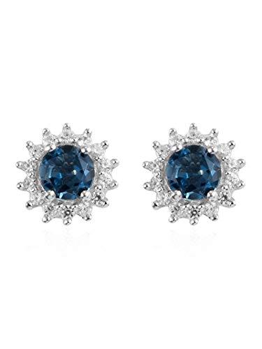 D'Joy Mujer plata de ley 925 plata de ley redonda Topacio azul London/circonita