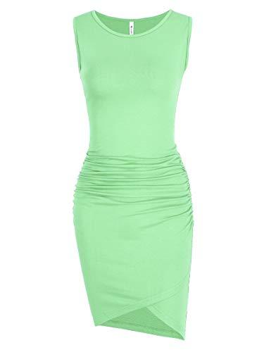 Women's Casual Ruched Bodycon Sundress Irregular Basic Sheath Sleeveless Fitted T Shirt Dress (Light Green, Medium)