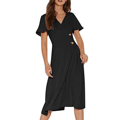 SANNYSIS Damen Kleider Vintage Elegant Sommerkleid V-Ausschnitt A-Linie Wickelkleid Swing Strandkleid Tunika Kurzarm Cocktailkleid Knielang Freizeitkleid (L, Schwarz)