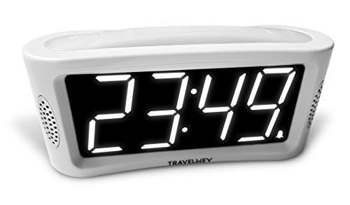 Travelwey Digitaler Wecker - netzbetrieben; Einfach zu bedienenender Wecker mit großem Nachtlicht; Nicht tickend; Schlummer-Modus; Helligkeitsdimmer; gut lesbares Display; 24-Stunden-Format Weiß