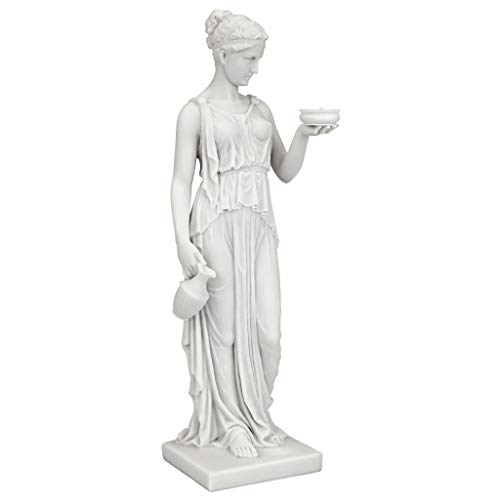 Design Toscano WU75343 Hebe Greek Goddess of Youth Figurine Statue, Small, 11 Inch, Bonded Marble Polyresin, White