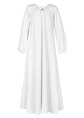Battle-Merchant Mittelalter Kleid Ana S-XXL div. Farben Vikings Kostüm Damen Wikinger LARP (XL, Weiß)