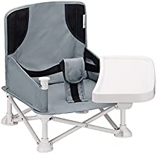 VEEYOO Travel Booster Seat with Removable Tray - Compact Folding Portable High Chair for Dining, Camping, Park, Beach or Grandma, Easy to Go with Carrying Bag, (Grey)