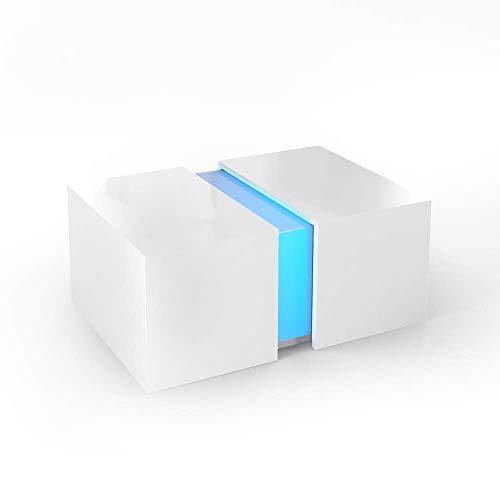 Vicco LED Couchtisch Dandy Hochglanz Sofatisch Kaffeetisch Beistelltisch (Weiß Hochglanz)