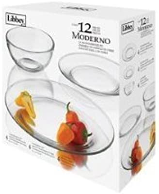 12 Piece Libbey Moderno Glass Dinnerware Set