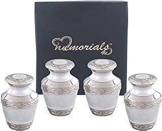 Elegant Pearl White & Silver Cremation Urn - Solid Brass Everlasting Love Cremation Urn - Premium Quality Silver Pearl White Cremation Urn for Human Ashes with Velvet Bag or Box (Set of 4 Keepsake)