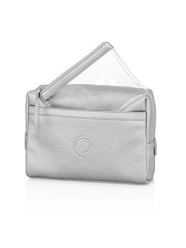 MARGO München Damen Kulturtasche 2-in-1 Travelset - Hochwertiges Reise-Set mit Kulturbeutel in Silber, transparenter Schminktasche & Taschenspiegel für Frauen