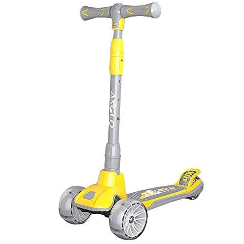 WHOJS Patinete Scooter para niños Altura Ajustable Ruedas LED Intermitentes Mejores Regalos para niños niñas por 3~14 años Construcción Ligera(Color:Amarillo)