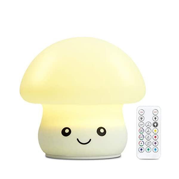 Baby Night Light, Mushroom Rechargeable Night Light for Kids with Timer/4 Lighting Modes, Remote Control Dimmable Warm White/RGB Color Changing LED Nursery Lamp for Feeding, Nursing, Changing Diaper