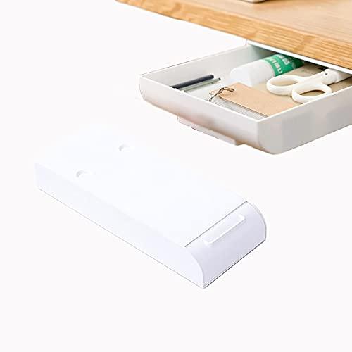 Self Adhesive Hidden Plastic Under Desk Storage Drawers Organizer, Hidden Desktop Drawer Tray, Under Table Drawer Hidden (White, Small)
