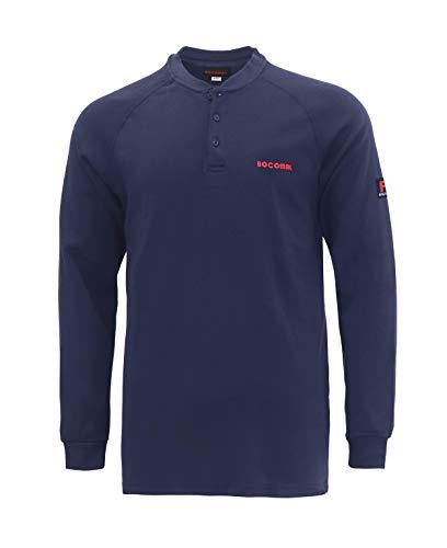 BOCOMAL FR Shirts Flame Resistant Shirts CAT2 NFPA2112 7oz Navy Men's Henley Shirt