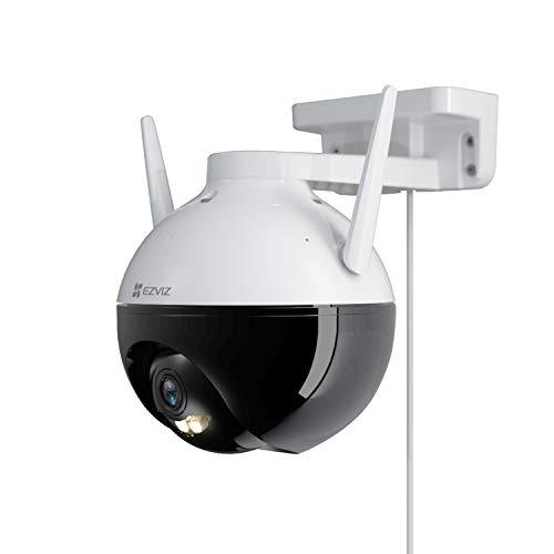 Überwachungskamera Aussen PT 352°/95° Schwenkbar , EZVIZ WLAN IP Kamera Outdoor 1080p FHD, 100ft Nachtsicht, KI-Personen Erkennung Pan Tilt und SD Kartenslot Max. 256G | C8C