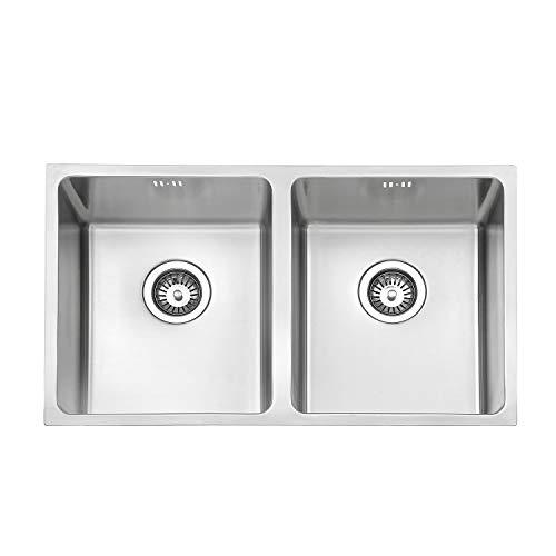 Jass Ferry Premium lavello da cucina in acciaio INOX lavello quadrato 2.0ciotola doppia opaco senza foro rubinetto 750x 440mm–10anni di garanzia