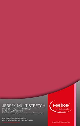 Heike hochelastisches Spannbettlaken Multistretch 92% Mako-Baumwolle 8% Elastan Deutsche Markenqualität 240gr/m2 bis 40cm Höhe für Wasserbetten Boxspringbetten und herkömmliche Matratzen (Brombeer)