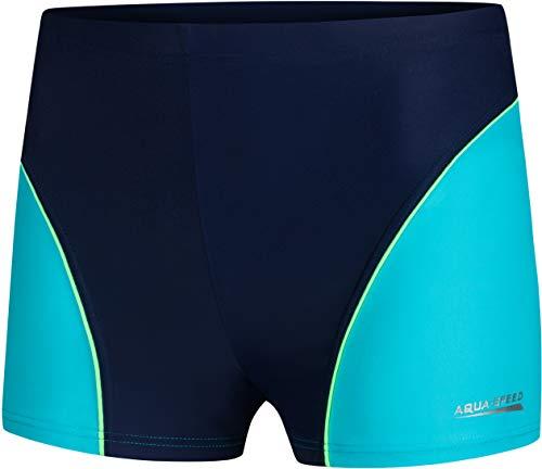 Aqua Speed Badehose für Wassersportler Jungs | Schwimmhose kurz | Badebekleidung Sport Wasserball | Trainings UV Retro Schwimmbekleidung | Wettkampf | Gr. 134 | 42. Blau - Turquoise | Leo