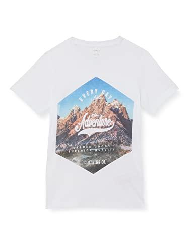 NAME IT NKMKALMARO SS Top Box Camiseta, Blanco Brillante, 134-140 cm para Niños