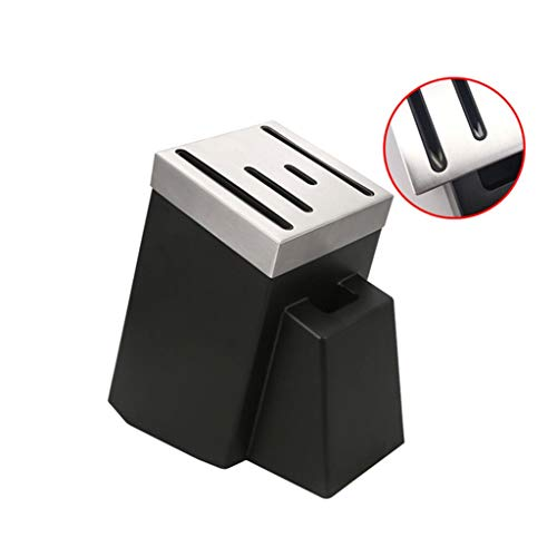 5 Steckplatz Leer Universalmesserhalter Edelstahl, Küchenblock Regal Ohne Messer Schwarz Platzsparende Lagerung Messer Veranstalter 0627