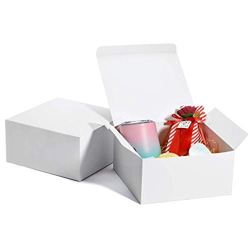 HOUSE DAY 10Pcs Coffrets Cadeaux Boîtes à cadeaux en papier avec couvercles pour cadeaux, artisanat, Boîtes d'emballage de petit gâteau Boîtes faciles à assembler 20x20x10cm Blanc