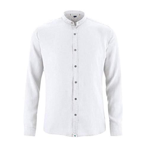 HempAge Herren 100prozent Hanf Stehkragenhemd, Farbe: weiß, Gr.: XL