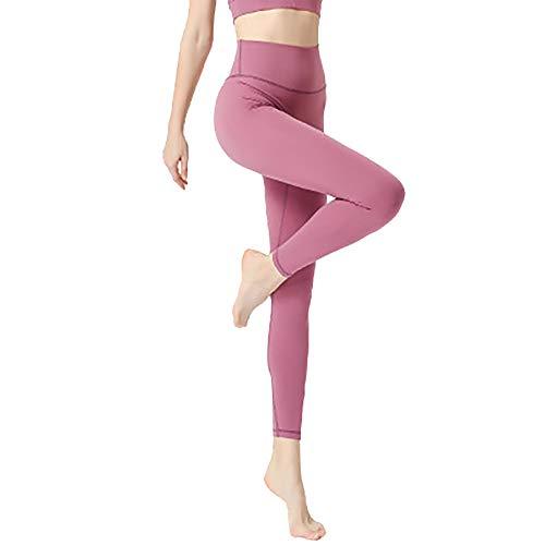 GHJL Pantalones de Yoga Desnudos sin vergüenza, Pantalones Ajustados para Correr de Cintura Alta XL Pink