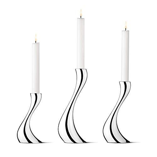Georg Jensen Cobra Kerzenständer Edelstahl, Set von 3