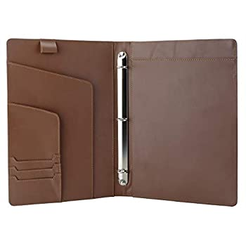 iCarryAlls Leather Organizer Padfolio with 3-Ring Binder Fits Letter-Size / A4 Notepad,Brown