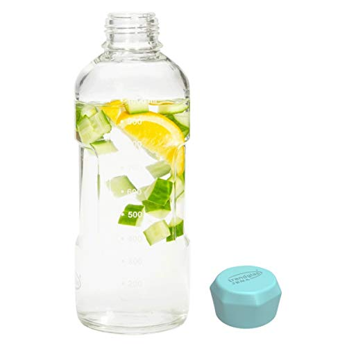 Trendglas Jena Glasflasche/Trinkflasche to go aus Borosilikatglas mit Skala - Blauer Verschluss, 1000 ml