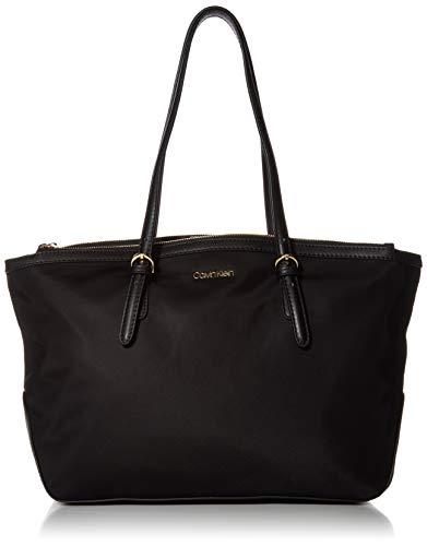 Calvin Klein Abigail Nylon Key Item Organizational Tote, Black/Gold