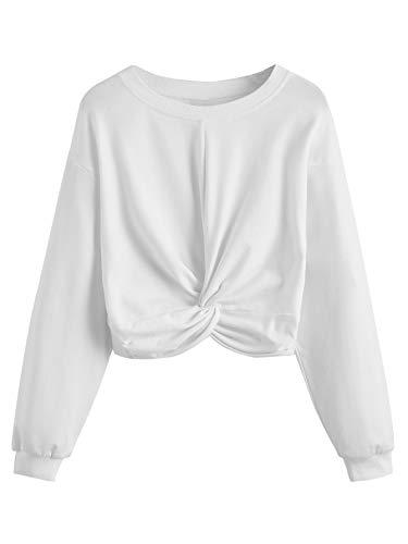 MAKEMECHIC Women Solid Twist Front Long Sleeve Crop Top Pullover Sweatshirts White M