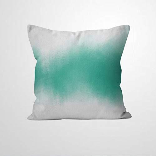 EricauBird Funda de cojín de color turquesa degradado teñido anudado acuarela Boho Chic Funda de cojín para decoración del hogar