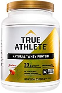 True Athlete Natural Whey Protein Strawberry, 20g of Protein per Serving Probiotics for Digestive Health, Enzymes for Prot...