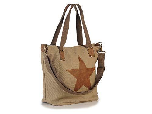 Shopping Tasche - Einkaufstasche - Schultertasche - Henkeltasche mit Motiv Handtasche mit Stern 37 x 14 x 33 cm - Geschenk Idee Geburtstag Mitbringsel Ostern Weihnachten (beige)
