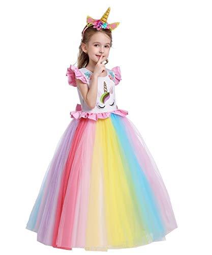 Niñas Disfraz de Halloween Princesa Vestido de Unicornio para Chicas Cumpleaños de Boda Carnaval de Fiesta de Cosplay Navidad Comunión Flor Vestidos de Baile con Diadema Arcoiris 10-11