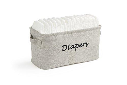 Dejaroo Baby Diaper Storage Bin - Nursery Organizer Caddy - Embroidered Eco-Friendly Grey Linen (Grey)