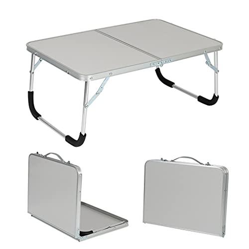 Flystcn Mesa de Camping Plegable de la Mesa de la Mesa de la Bandeja portátil de la Bandeja portátil Tabla de Cama Plegable para Uso portátil para Uso Multiusos (Color : Silver)