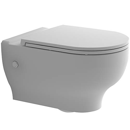 Alpenberger Spülrandloses Hänge-WC maus Keramik 52,5 x 36 cm mit Antibakterieller Beschichtung | Rimless Toilette inkl. abhnembaren WC-Sitz mit Soft-Close | Wand-WC ohne Spülrand | Modernes Design