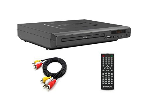 LONPOO Compact HD DVD Player with Multi-Regions 1/2/3/4/5/6,USB Port, Remote Control, Region Free DVD Player with RCA Audio Cable for TV Connect