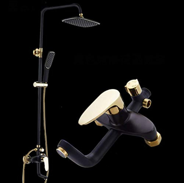 LHW Shower Set chset, Handbrause, Schwarz Duschkopf, Schwarz Gold Duschkopf, Drehbare Tragbare Duschkopf, Warm und Kalt Wasserhahn, Lift Wand-Duschkopf