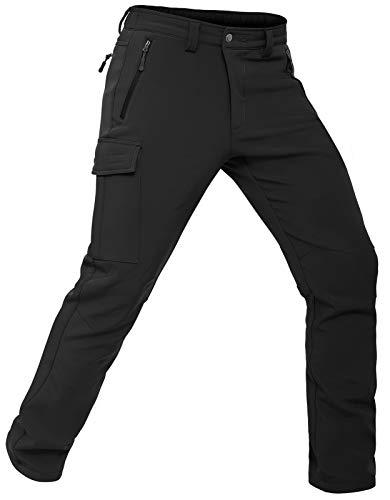 Vzteek Pantaloni da trekking da uomo, elasticizzati, impermeabili, invernali, con calda imbottitura, Nero , L