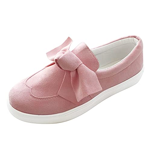 Large fabric shoes, summer breathable non-slip leisure shoes, flat mouth, flat bow, easy to put on and take off fabric shoes, comfortable, casual women's trainers, single shoes Size: 8 UK
