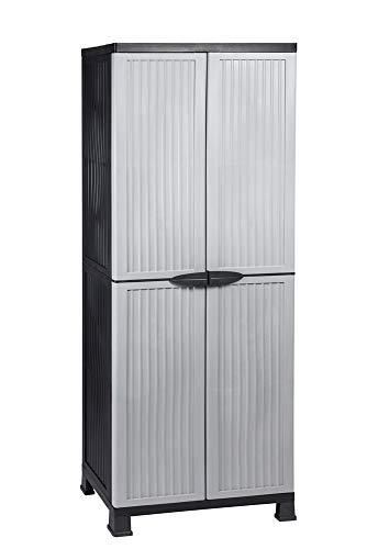 Kunststoffschrank Noble hoch, 171 x 68 x 40 cm, mit 3 Einlegeböden, verstellbar, je 20 kg Tragkraft pro Boden - hohe Version grau