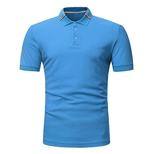 Shirt Hombre Manga Corta Slim Fit Botón Básico Tapeta Hombre Ocio Shirt Verano Moda Vintage Estampado Hombre T-Shirt Estiramiento Deporte Al Aire Libre Hombre Polo D-Blue2 M