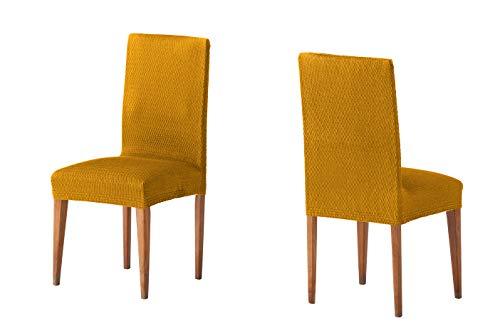 Martina Home Tunez - Funda para Silla, Tela, Funda silla respaldo, Mostaza, 24 x 30 x 6 cm, 2 Unidades