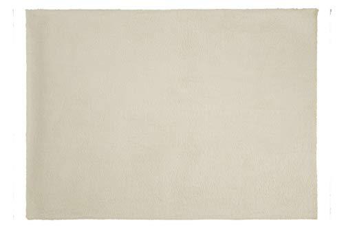 Eurofirany Decoratieve tapijt, deurmat, tapijtloper, loper, badmat, woonkamer, slaapkamer, keuken, rechthoekig, imitatiebont, zacht, crème, 50 x 70 cm