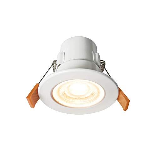PJDOOJAE Lámpara de Techo empotrada de la Ducha Spotlight LED Fire Natillas Downlights, Baño Blanco Mate/Ducha IP65 Luces de Techo, 5W 450 Lúmenes, Fresco Blanco 4000K, ángulo de Haz de 60 Grados