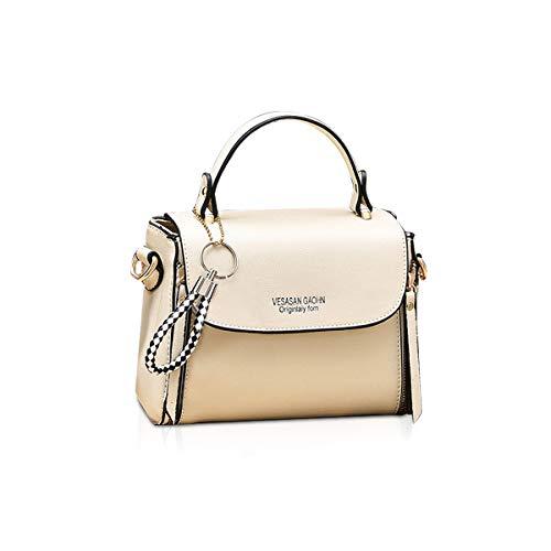 NICOLE & DORIS Tasche Damen Klein Crossbody Tasche PU Leder Tasche Umhängetasche Trendy Handtasche mit abnehmbaren Schulterriemen Beige