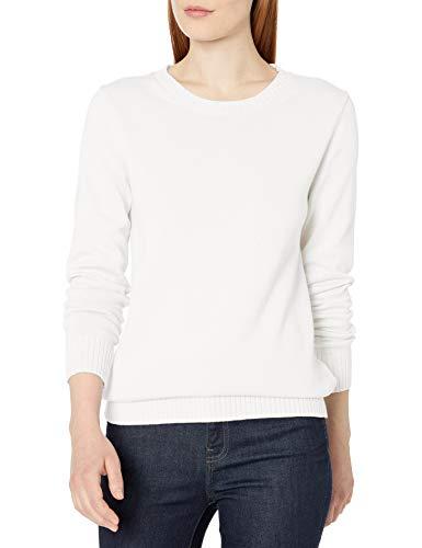 Amazon Essentials Women's 100% Cotton Crewneck Sweater, White, Large